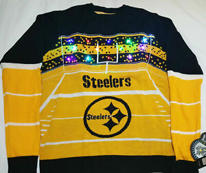 Details about Pittsburgh Steelers KLEW Men's NFL Light Up Ugly Christmas Sweater Shirt MEDIUM