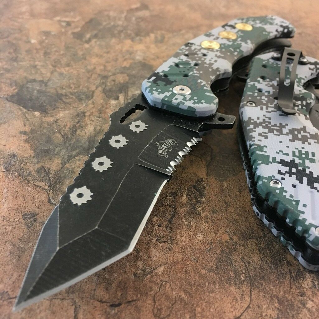 ARMY Spring Assisted Open DIGITAL CAMO TANTO Folding Pocket BULLET Blade Knife