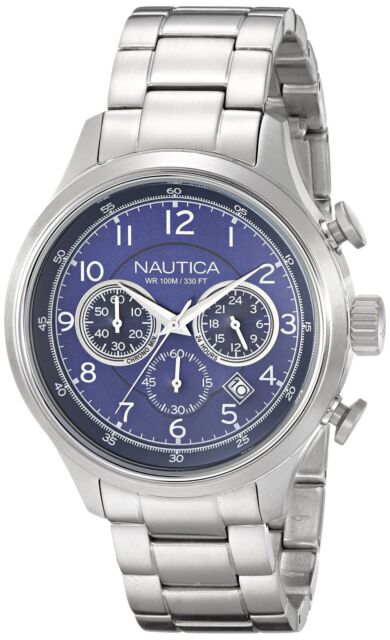 Nautica Men's Chronograph Watch Blue Dial Stainless Steel N19630G NCT 16 Analog