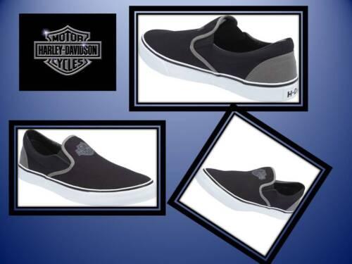On Davidson Harley Relax Hommes Authentique Slip Biker Gris de Marchmont Noir Chaussures vdCOdH