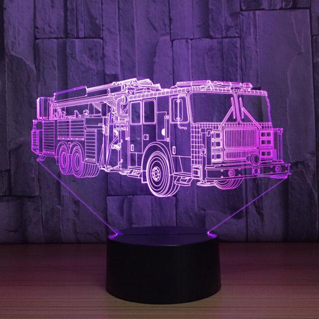 3d Fire Engineer Car Lamp Acrylic 7 Color Led Table Night
