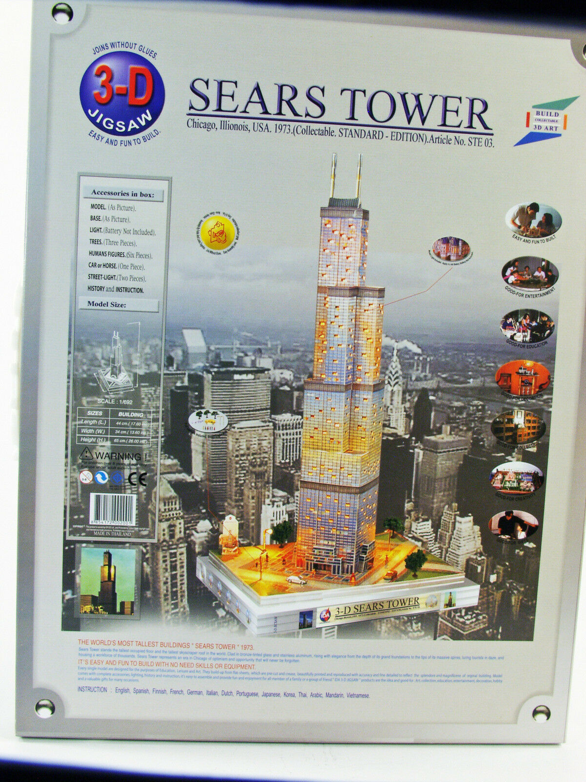 IDA 3-D Jigsaw -  Sears Tower  Building Building Building  Kit - Lighted - NOS cecb42