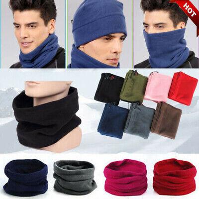 3in1 Winter Sport Thermal Fleece Scarf Snood Neck Warmer Face Mask Beanie Hat bw