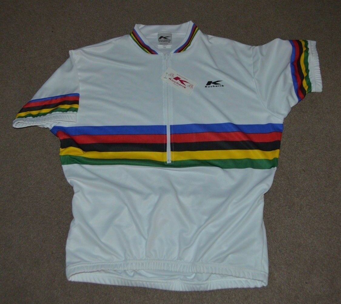 NWT World Champion 1 2 Zip Cycling Jersey Kucharik XL