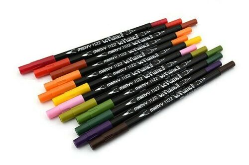 Uchida 1122-012F Le Plume II Double-Ended Marker Fine//Brush Garden Set of 12