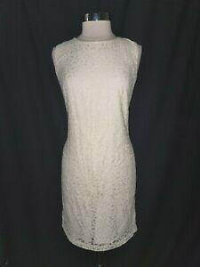 LOFT Size 14 Shift Dress Ivory Lace Sleeveless Knee Length