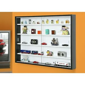 Storage display cabinet modern shelves wall glass case box - Armoire suspendue ikea ...
