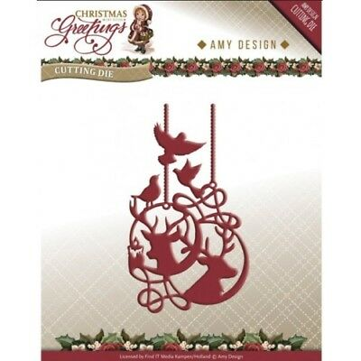 Amy Design Christmas Greetings Ornament Cutting /& Embossing Die  ADD10068