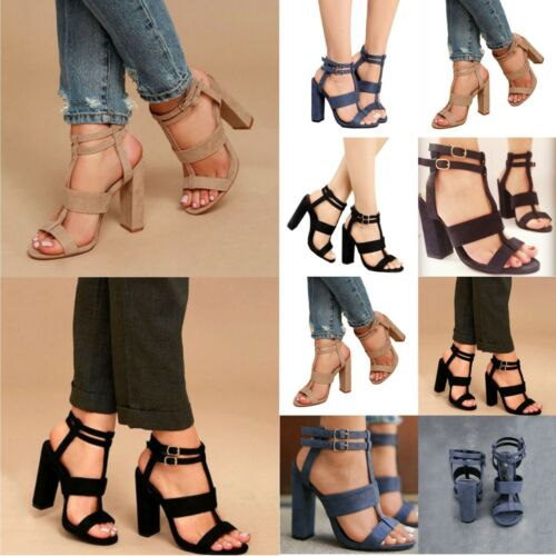 Women Mesh Block High Heels T-Strap Shoes Peep Toe Pointed Ankle Booties Lace Up