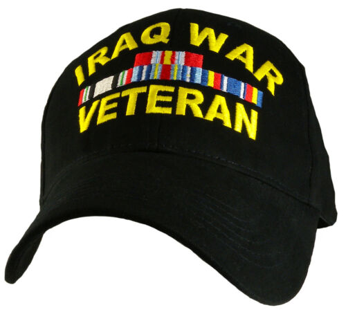 Iraq War Veteran With Ribbons Black Military Hat  Baseball Cap