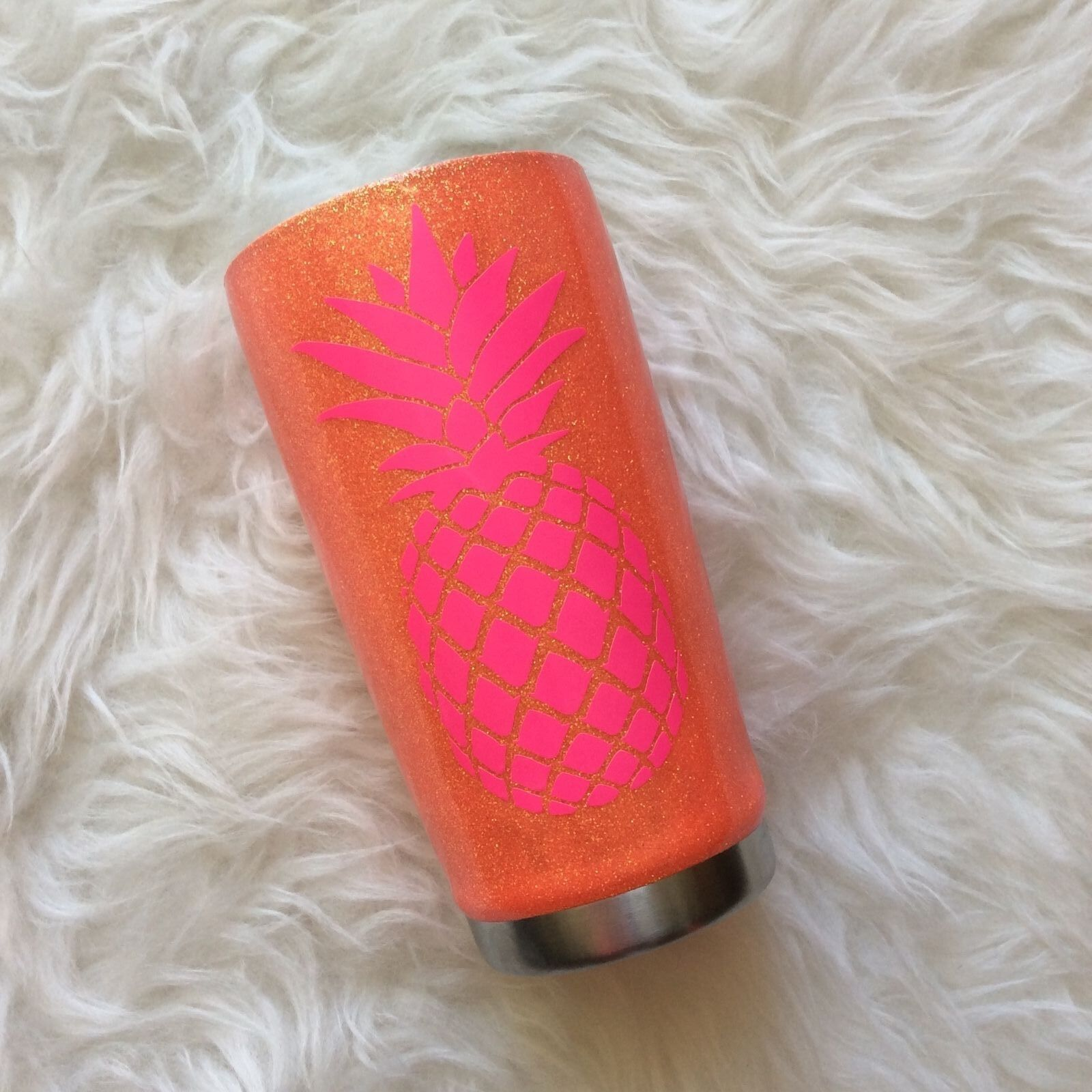 Yeti 20 oz neon coral with hot pink pineapple decal