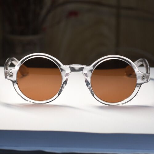 Round Vintage Johnny Depp polarized sunglasses crystal clear glasses brown lens
