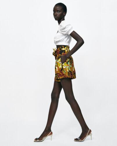 Mustard 38 tropicali Brown 10 6 Pantaloncini fiori U a Zara Skort Bermuda Medium M Uf5qwWxBO