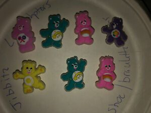 Glow-In-Dark-Care-Bears-Lot-Of-7-Crocs-Shoe-Bracelet-Lace-Adapter-Charms-jibbitz