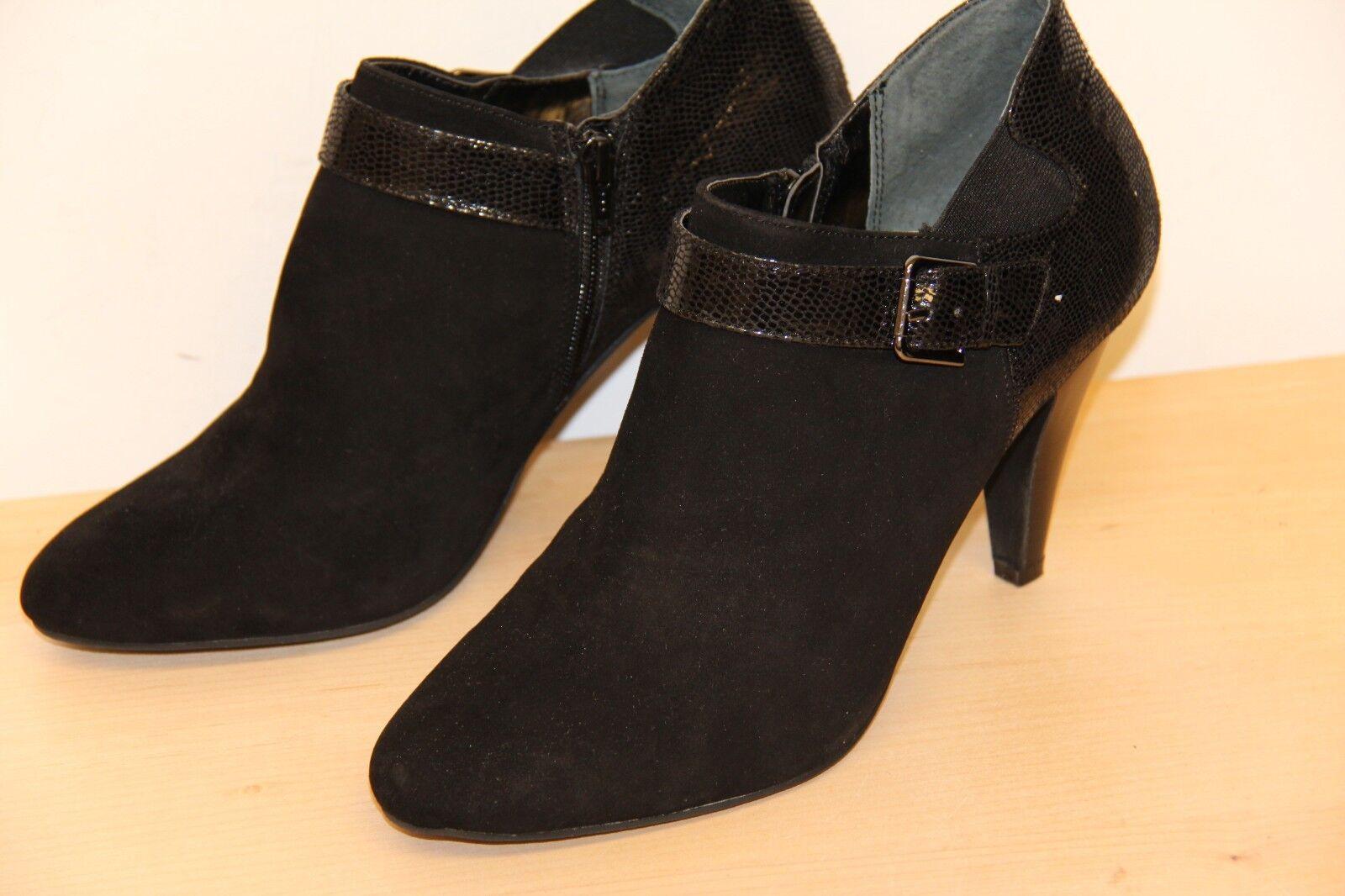 NIB ALFANI SHIRLEE Leather Ankle Shooties Heeel Boots Size 10 M Black