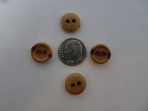 Vintage Wood with Burn Marks 2-Hole Buttons Lot of 13 or 144 13mm 16mm B43B52