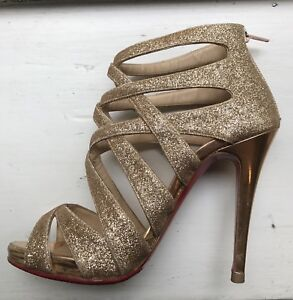 Image is loading Christian-Louboutin-Shoes-Gold-Glitter-Strap-Shoes-Size- 1e7b71d32e71