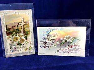 Set-2-John-Winsch-Easter-Post-Card-Antique-1910-1911-Divided-Back-Vintage-Lot