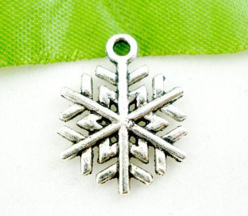 15 ANTIQUE SILVER CHRISTMAS SNOWFLAKE CHARM~17x19mm~Cards~Wine Glass Charm X47