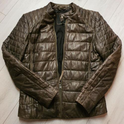 TIGHA Herren Biker Lederjacke Vintage Braun Sheep Leather Gr M