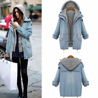Womens Oversized Outerwear 2Pcs Loose Ladies Denim Coat Jacket Hoodie Waistcoat