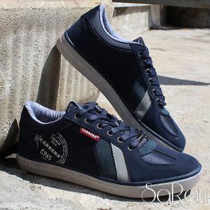Scarpe-Uomo-Carrera-Sneakers-Basse-Blu-Sportive-Camoscio-Lacci-Stringhe-SARANI