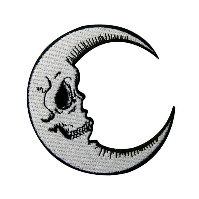 """Luna Grinning Skull Face Moon Symbol Embroidered Patch Iron On SIZE 3.3/""""x3.4/"""""""