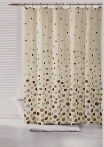 70 in x 72 in space canvas fabric shower curtain polka dot teal blue brown olive. Black Bedroom Furniture Sets. Home Design Ideas