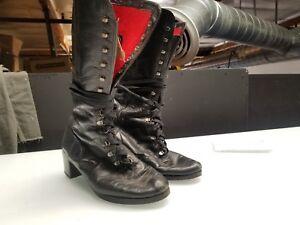 Vintage-Giusti-Knee-High-BLACK-LEATHER-Boots-Womens