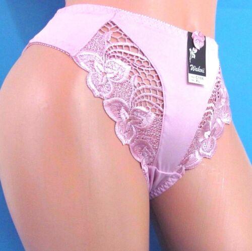 B1 VTG Embroidered floral LACE Nylon sissy Bikini Panties S M L XL 2XL