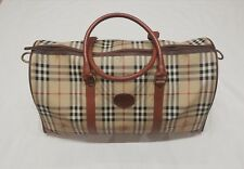 dec844b14884 Burberry Boston Nova Check Leather Handbag Weekend Travel Duffel Bag Holdall