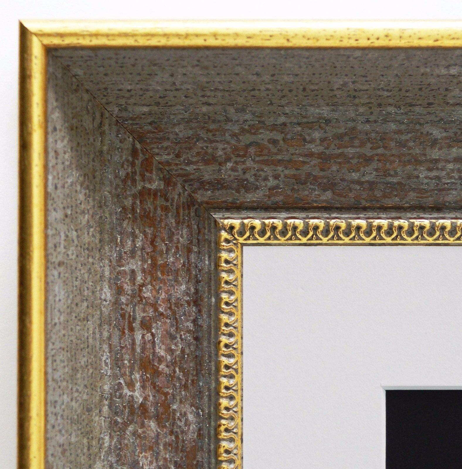 Bilderrahmen Monza Grau Gold Antik mit PassepKunstout in Weiss 6,7 - alle Größen