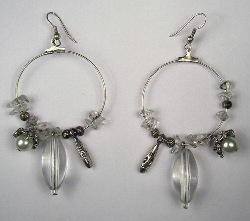 "Handmade Beautiful Stylish Earrings Metallic Hoop 1.5"" Diameter With Beads Alloy"