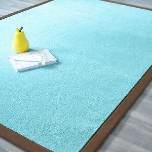 Détails sur Tapis en velours bleu vif turquoise - Ganse marron - Salon  séjour chambre enfant