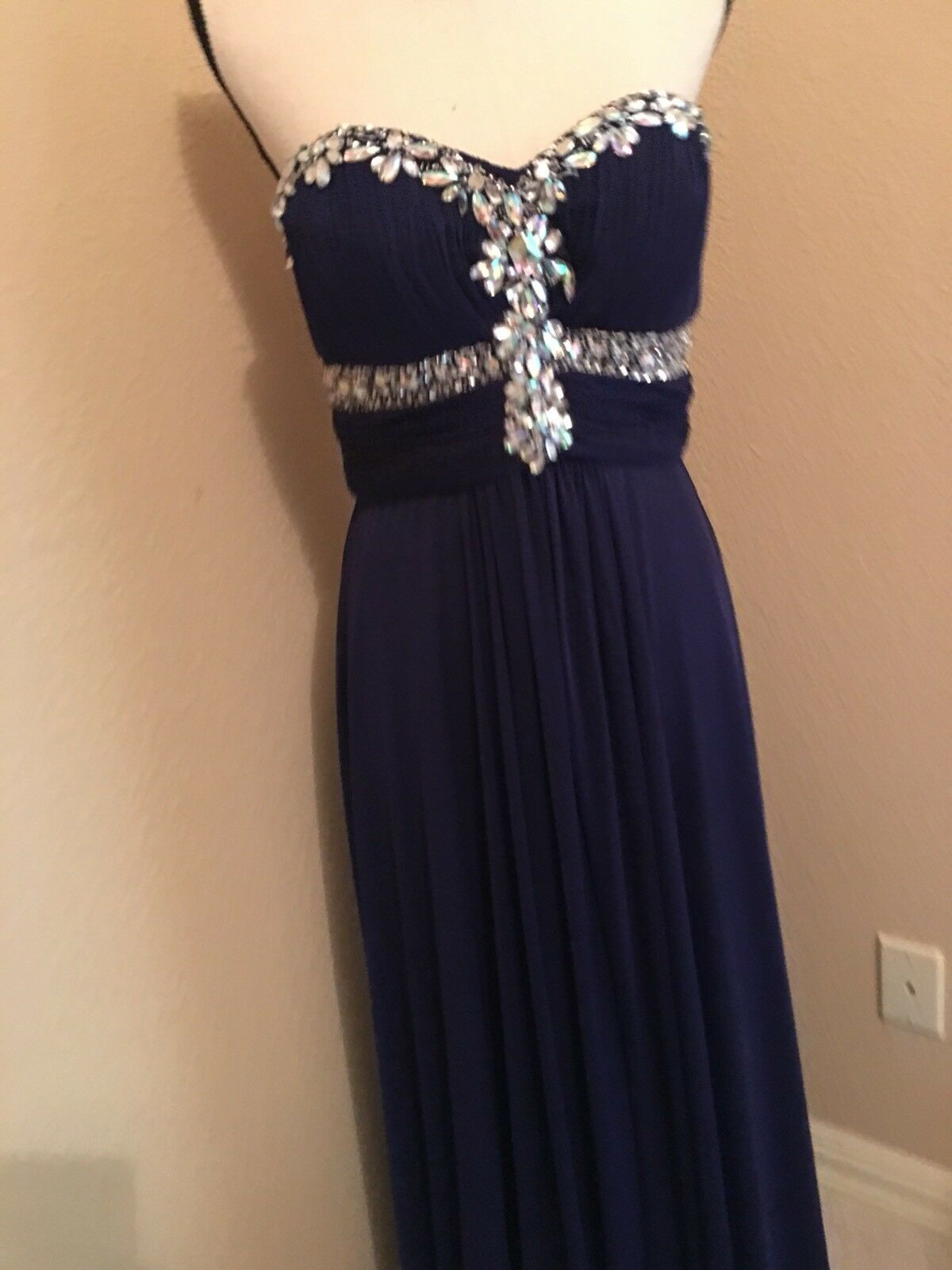 Designer Cache Long Evening Dress Size Size Size 8 Rhinestone Bodice 84808c