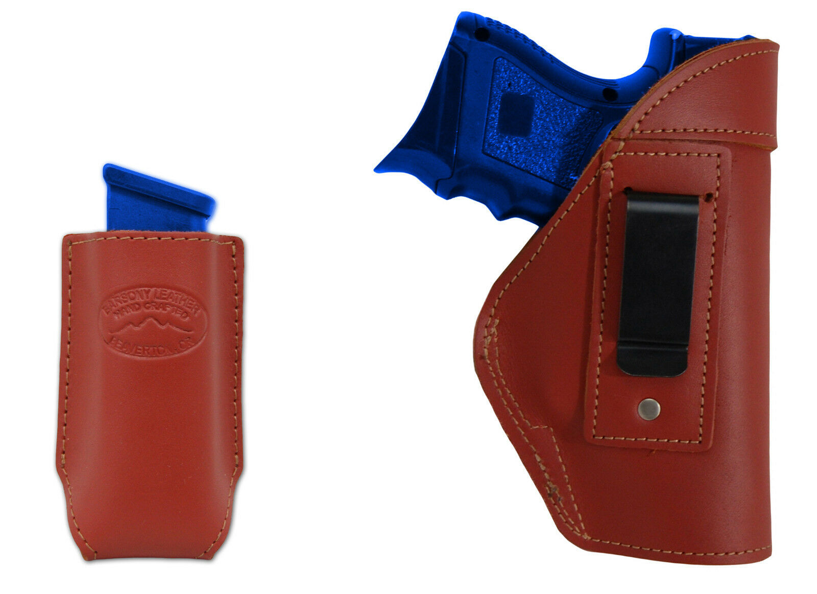 NEW Barsony Burgundy Leder IWB Holster + Mag Pouch HK, Kahr Compact 9mm 40 45