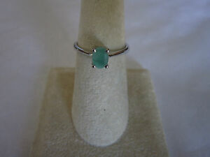 Gorgeous-Single-Stone-Sterling-Silver-Emerald-Ring-Real-Emerald-925-silver-sz-8