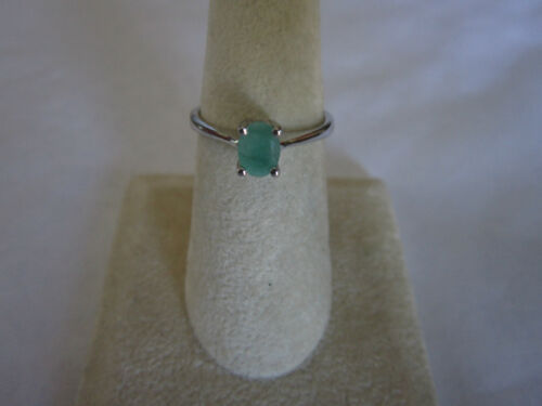 Magnifique seule pierre Sterling Silver Emerald Ring Real Emerald 925 silver Sz 6