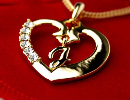 Nom Collier Pendentif Coeur lettre J or 18k plaqué Anniversaire Cadeaux de Noel