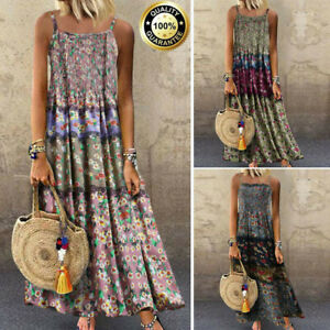 Summer-Women-Boho-Floral-Sleeveless-Cotton-Linen-Long-Maxi-Dress-Plus-Size-M-5XL