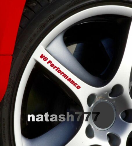 V6 Performance Wheels Rims Decal Sticker Emblem logo Sport Racing Car Set of 4