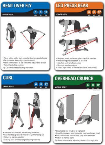 Fitdeck Résistance Bandes Tubes exercice cartes à jouer formation Exercices Gym 01236