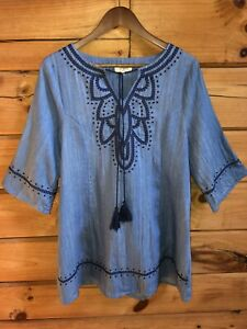 Umgee-Tunic-Top-Sz-S-Light-Denim-Blue-Tassel-Tie-Shift-Dress-Boho