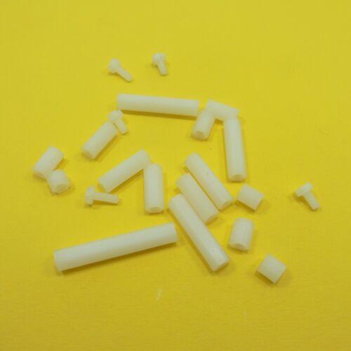 M3 Female White Plastic Pillars Hex Standoff Bolts Spacers PCB Pillar Studs