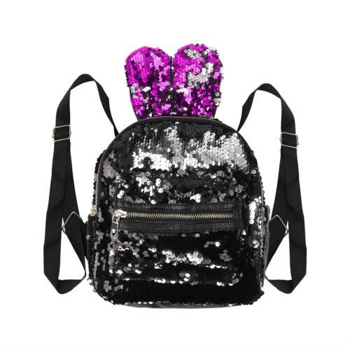 Girls Sequins Backpack Glitter Travel Dazzling Rucksack Handbag Shoulder Bag New