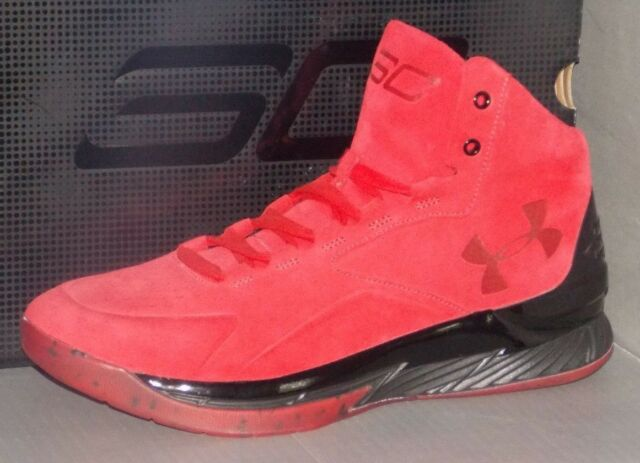 meet 011b0 d3863 Mens Under Armour Curry 1 Lux Mid Suede Red Black 1296617-600 US 10.5