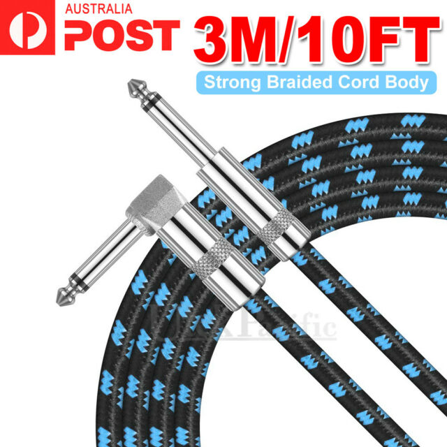 """3M Electric Guitar Lead Cord Cable 6.35mm 1/4"""" Jacks For Amp Pedals Instrument"""
