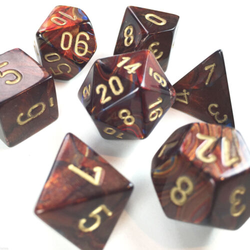 Scarab Blue Blood w// Gold Chessex Dice Poly Set of 7-27419 Free Bag DnD