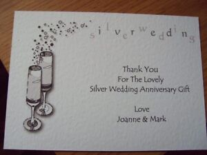 5 Personalised Silver Anniversary Thank You Cards Champagne Ebay