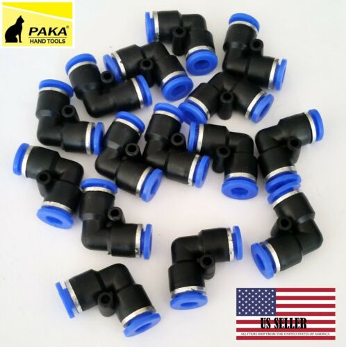 25x Tube OD 6mm 1//4/'/' 6mm Elbow Union Pneumatic Quick Connector Air Fittings